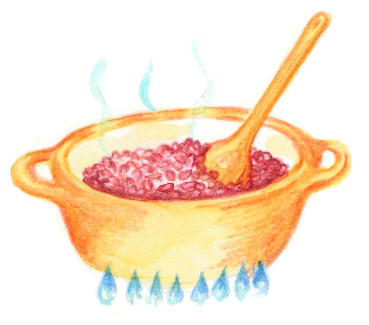 小豆を煮ているイラスト